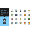 back to school icons set 1 filled outline design vector image vector image