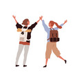 back young happy couple with backpacks vector image vector image
