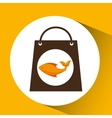 bag shopping food icon fresh fish vector image vector image
