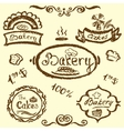 bakery set elements chalkboard vector image