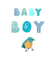 bird and hand drawn lettering - baby boy