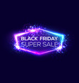 black friday super sale banner on neon background vector image vector image