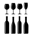 bottle and glass set vector image vector image