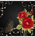 Bouquet of red roses with gold buttetfly vector image