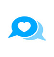 bubble chat favorite heart like message icon vector image