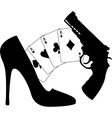 cards pistol and womens shoe vector image vector image
