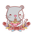 cat with noodles kawaii vector image