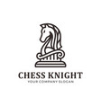 chess knight logo mono line line art logo vector image