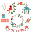 Christmas decorations and birds vector image