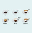 coffee cup cafe menu with infographic flat design vector image