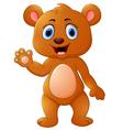 Cute brown bear waving hand vector image vector image