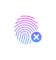 fingerprint icon with cross sign concept of vector image vector image