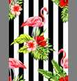 flamingo and hibiscus tropical pattern striped vector image vector image