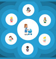 flat icon mother set of woman kid mam and other vector image
