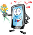 fun mobile character romantic with flowors vector image vector image