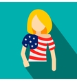 Girl in USA flag colors t-shirt flat icon vector image