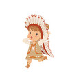 girl wearing native indian costume and headdress vector image vector image