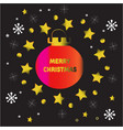 gold christmas ball pink with star background vector image vector image