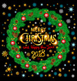 gold merry christmas and happy new year 2018 vector image