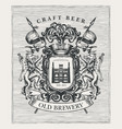 hand-drawn medieval coat arms for old brewery vector image vector image