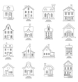House set in outline style vector image vector image