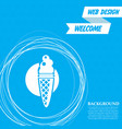 ice cream icon on a blue background with abstract vector image