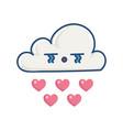 kawaii sad cloud raining hearts vector image