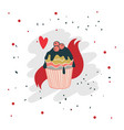 lovely christmas hand drawn cupcake cookie vector image