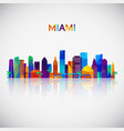 miami skyline silhouette in colorful geometric vector image vector image