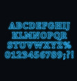 neon blue font bright capital letters with vector image vector image
