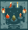 new year color concept isometric icons vector image vector image