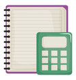 notebook school supply with calculator vector image vector image
