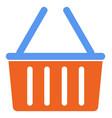 orange grocery basket with blue handles vector image