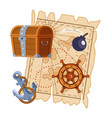 pirate adventure map wooden treasure chest ship vector image