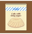 Recipe Book Cake With Icing Sugar vector image vector image