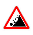 road sign warning avalanche rockfall landslides vector image vector image