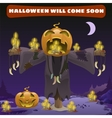 Scarecrow head pumpkin vector image vector image