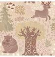 seamless pattern with deer bears in woods vector image vector image