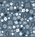seamless pattern with floral rainbows and hand vector image