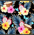 seamless pattern with fruits and flowers vector image vector image