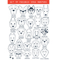 Set of 24 dogs different breeds handmade Head dog vector image vector image