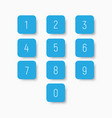 set of blue buttons with numbers from 0 to 9 vector image