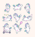 set of cute unicorns with rainbow mane vector image