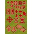 Set of different red pixel font symbols vector image vector image