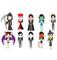 set of halloween cosplay party by cute girl vector image vector image