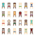 set of icons of chairs vector image vector image