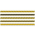 set of seamless yellow and black warning tapes vector image vector image