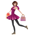 Shopping Girl with Bags vector image vector image