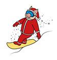 snowboarder pig santa claus symbol 2019 vector image vector image