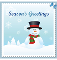 Snowman greeting card vector image